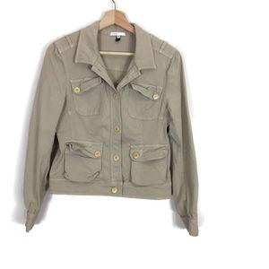 Vince. Bergdorf Goodman Khaki Tan Button Jacket